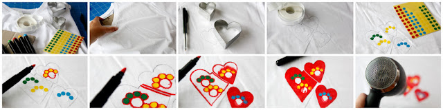 Step-by-step paw print heart t-shirt DIY with fabric markers