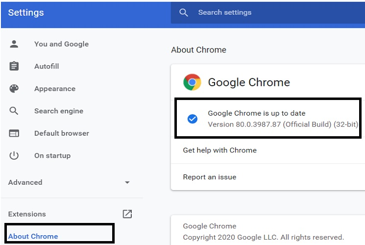 version 80 of Chrome