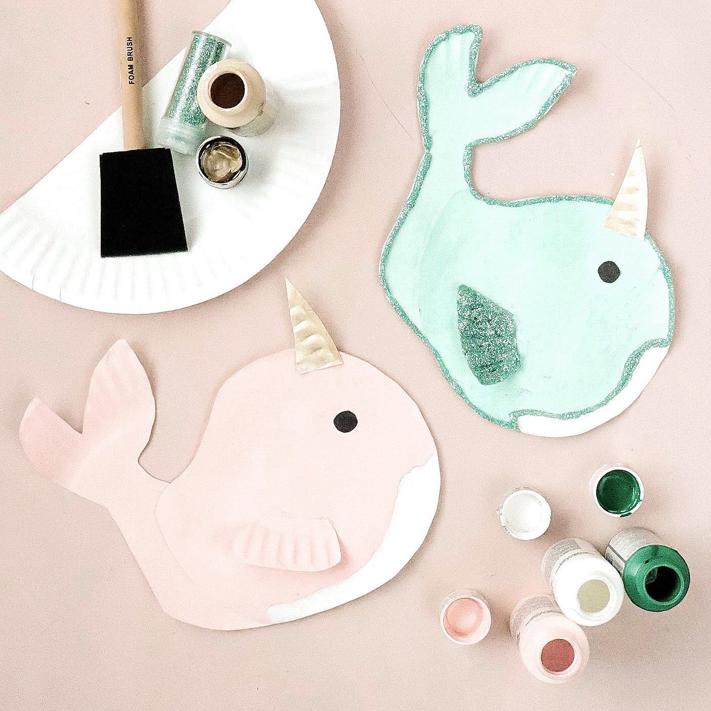 paper plate craft narwhal