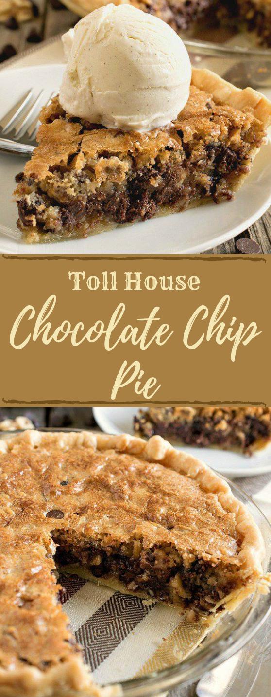 Toll House Chocolate Chip Pie #pie #cookie #dessert #chocolate #bars