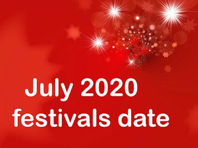 July 2020 festivals date