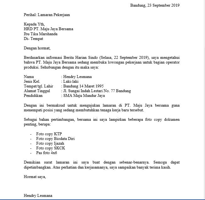 Contoh Surat Lamaran Kerja Di Pt Sebagai Karyawan Doc Pdf