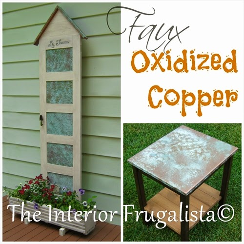 Turning galvanized tin and wood into faux oxidized copper