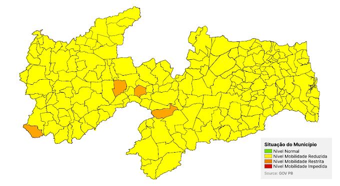 Apenas quatro municípios da Paraíba se mantêm na bandeira laranja e Estado deve ampliar flexibilizações