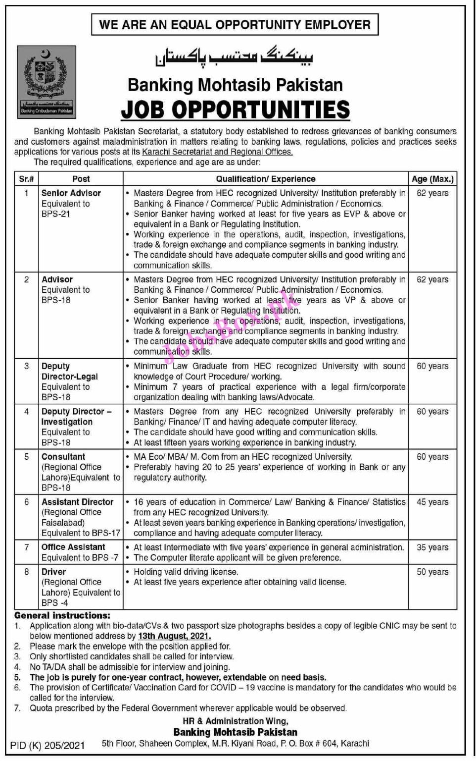 Banking Ombudsman Pakistan Jobs 2021 in Pakistan