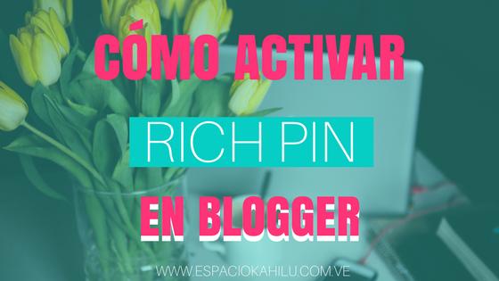 rich pin, blogger, como agregar rich pin, como utilizar pinterest, como generar trafico desde pinterst
