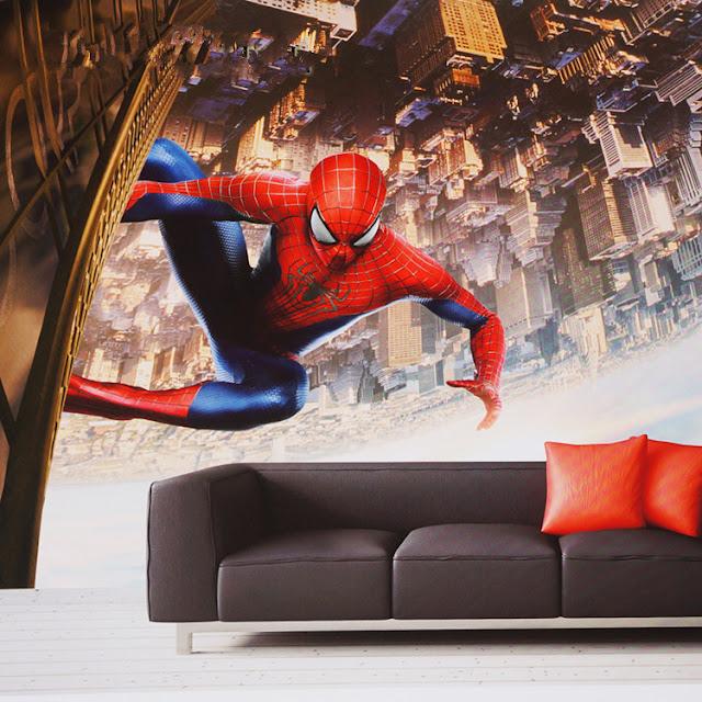 Superhero wall murals 3d wallpaper mural childrens room 3D comics Photo Wallpaper Kids Boys spiderman sitting on wall city new york