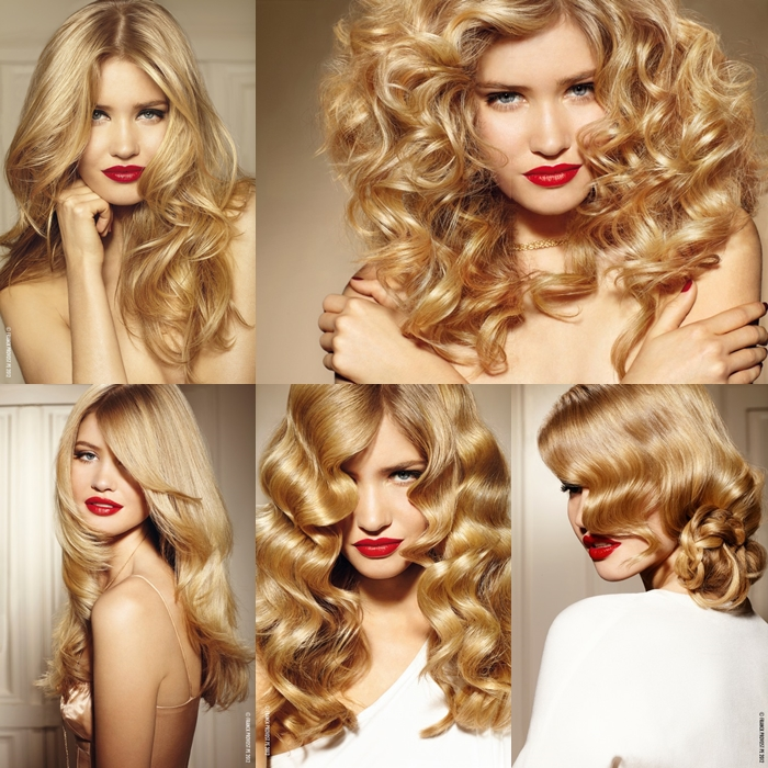 Trendy blonde hairstyles with red lips Modne fryzury blond