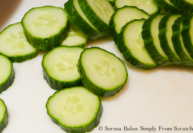 Sliced English Cucumbers for Tomato Cucumber Olive Salad.