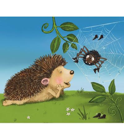 Der Igel, der wissen wollte, wie viele Stacheln er hat, Igel, Kinderbuchillustration, niedliche Spinne