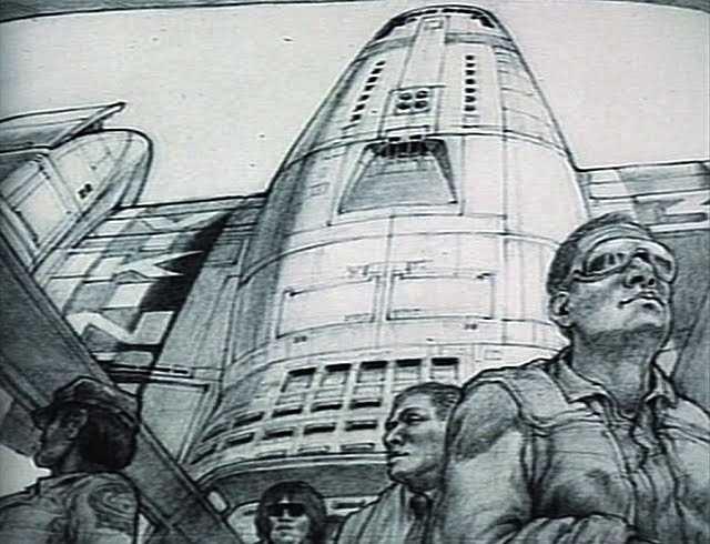 Passengers disembarking from Mars shuttle - concept art for Total Recall (1990) movie by Ron Cobb.