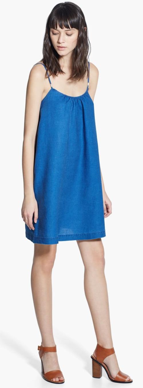 Robe courte Mango en lin bleu