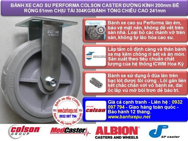 Bánh xe cao su đặc Colson càng cố định phi 200 chịu lực | 4-8198-459 www.banhxedaycolson.com