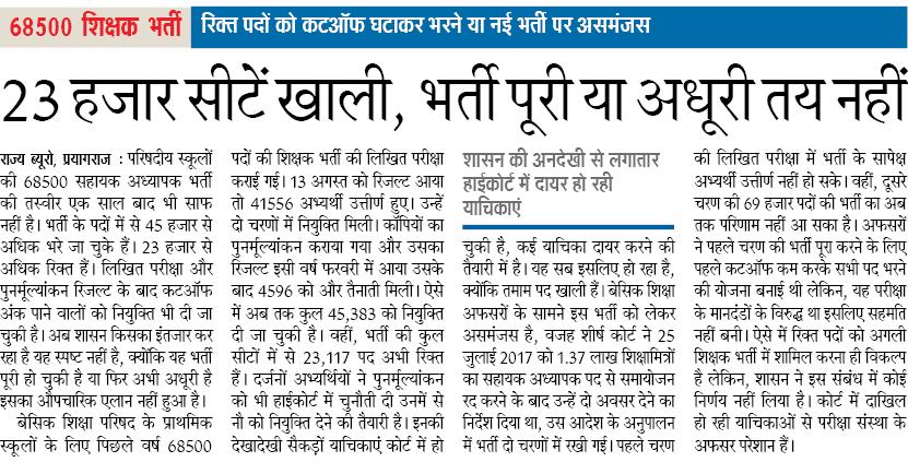 68500 primary teacher bharti साल भर चलने के बाद भी 23 हज़ार से अधिक पद ख़ाली,भर्ती पूरी या अधूरी पता नही