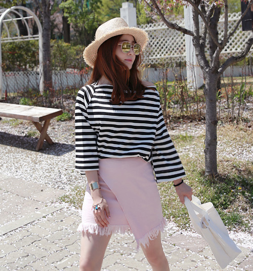 Striped Boat Neck Top