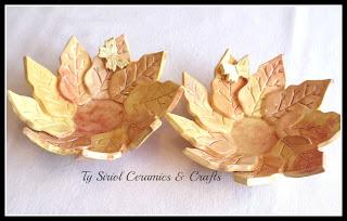 Ty Siriol Ceramics autumn leaf bowls