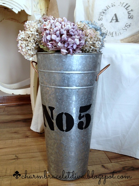 DIY French flower galvanized bucket