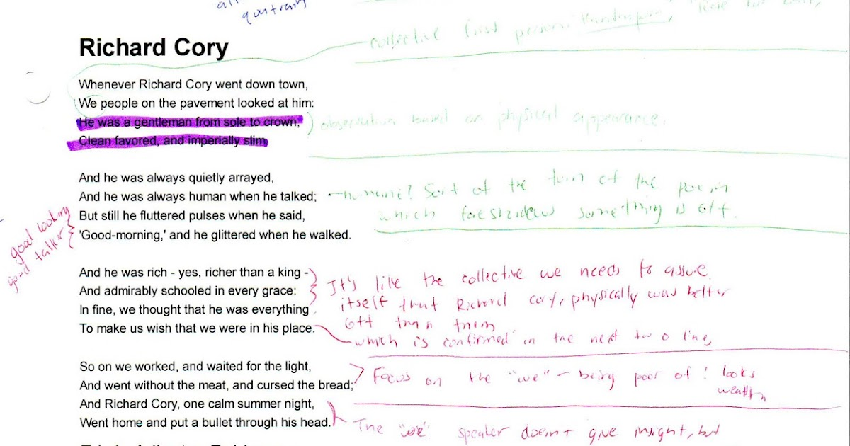 Richard cory analysis essay