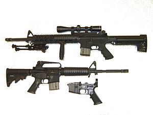 A AR-15 é uma carabina desenvolvida pela Armalite