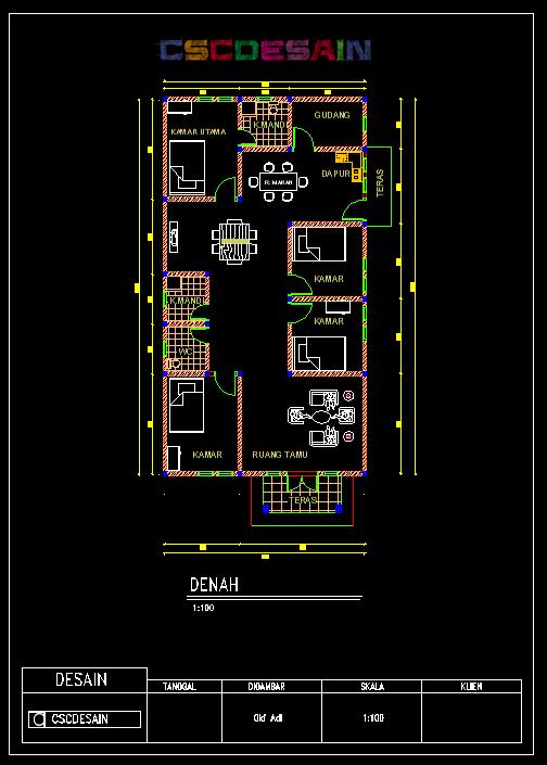 Desain Rumah Tinggal Autocad  Hontoh