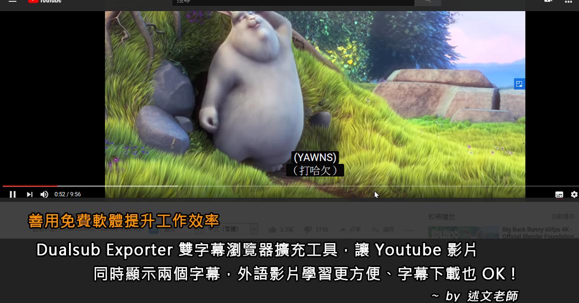 善用免費軟體提升工作效率:Dualsub Exporter 雙字幕瀏覽器擴充工具讓 Youtube 影片同時顯示兩個字幕,外語影片學習更方便、字幕下載也 OK!