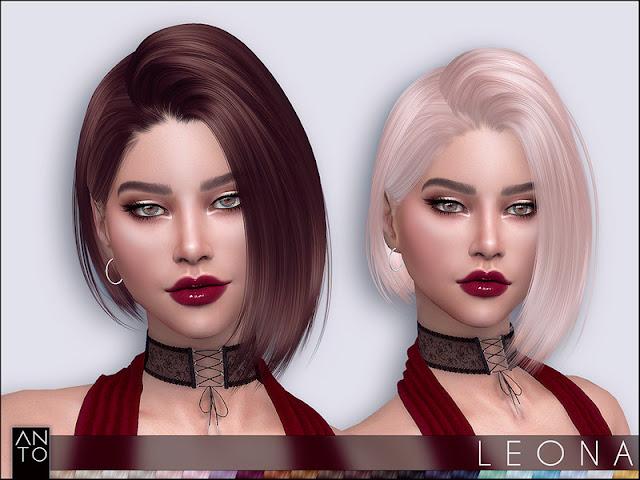 Anto - Leona (Hairstyle) Анто - Леона (Прическа) для The Sims 4 Боб волос для ваших симов 22 цветов работает с шляпами гладкой такелаж карты теней Автор: Anto