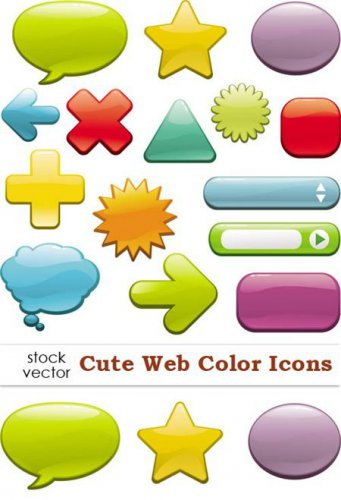 Vectors - Cute Web Color Icons