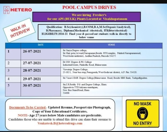 Hetero Labs   Pool campus drives from 26th to 30th Jul 2021