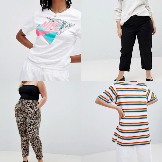 Nike 90S T-Shirt With Graphic Logo In White || ASOS Design Curve chino trousers in black || New Look Curve Animal Print Jogger || Monki Rainbow Stripe Oversized Tee