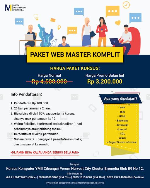 paket kursus web master untuk belajar html,css, javascript, php, mysql, framework, di kursus komputer ymii cileungsi