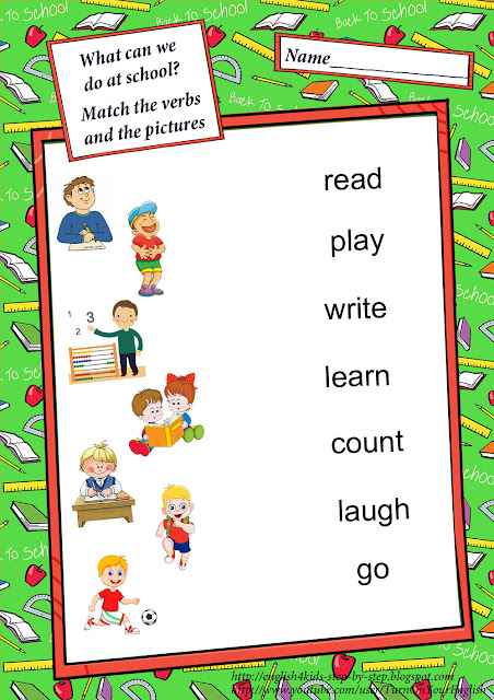 classroom activities matching worksheet for english learners