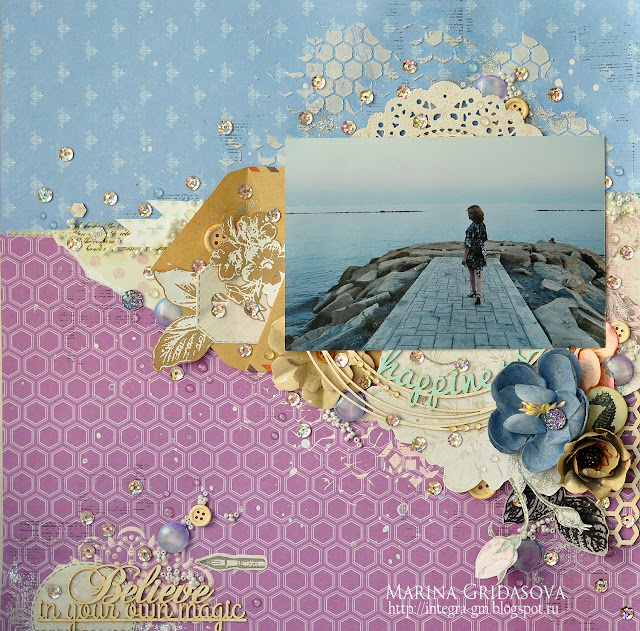 Believe in your own magic @akonitt #by_marina_gridasova #mrpainter #theminiart #sizzix #chipboard #layout #scrapbooking