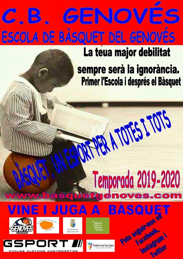 El Bàsquet, un esport per a totes i tots, nova campanya de promoció del C.B. Genovés per a la Temporada 2019-20