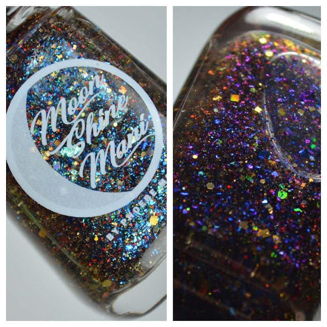 color shifting glitter nail polish in a bottle