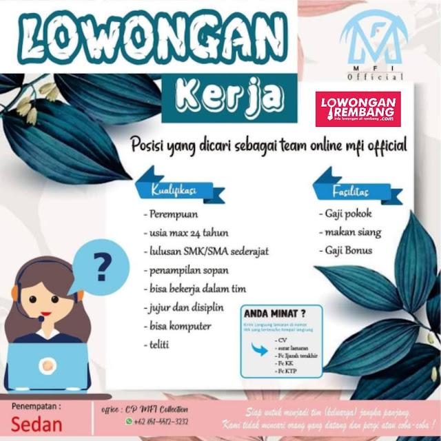 Lowongan Kerja Team Online MFI Collection Rembang