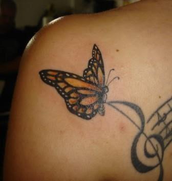 Foto Tattoo Design Butterfly Kupu Di Tubuh Wanita 5