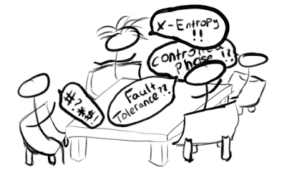 Cartoon of a conversation between John Martinis and my research group, with confusing terms displayed in speech bubbles