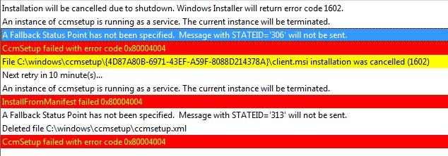 CcmSetup failed with error code 0x80070307 Windows 10 ~ SCCM