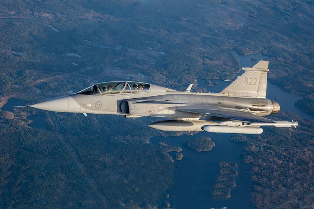 Saab's new Electronic Attack Jammer Pod in the air