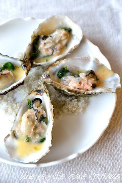 huîtres chaudes pochées aux épinards et beurre blanc