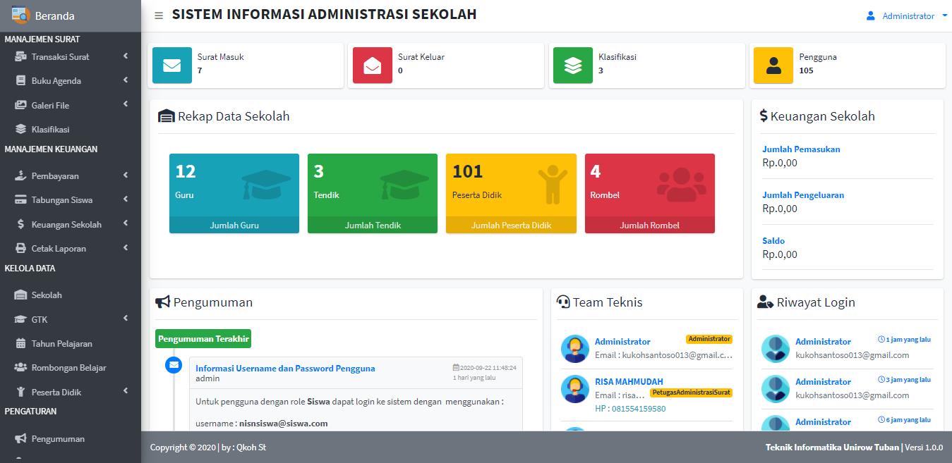 Aplikasi Web Sistem Manajemen Administrasi Sekolah
