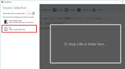 Klik File (Open a single video file) untuk memilih video yang akan dikompres.