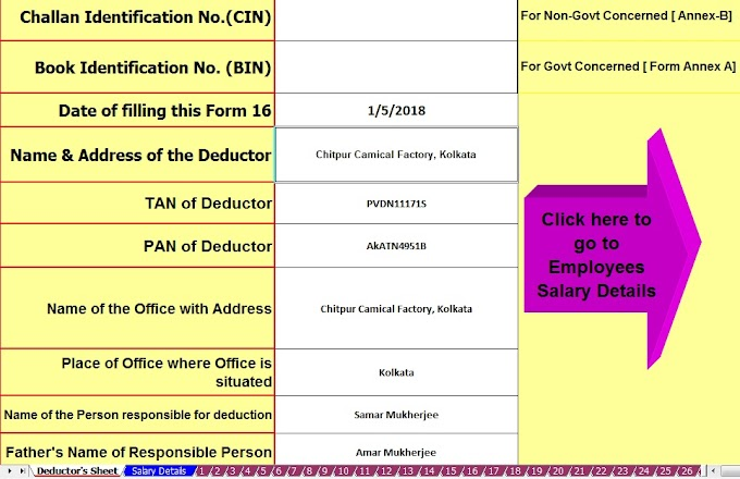 Automated Master of Form 16 Part B for F.Y.2018-19 and Section 80D: Income Tax Deduction for A.Y. 2019-20 & F.Y 2018-19