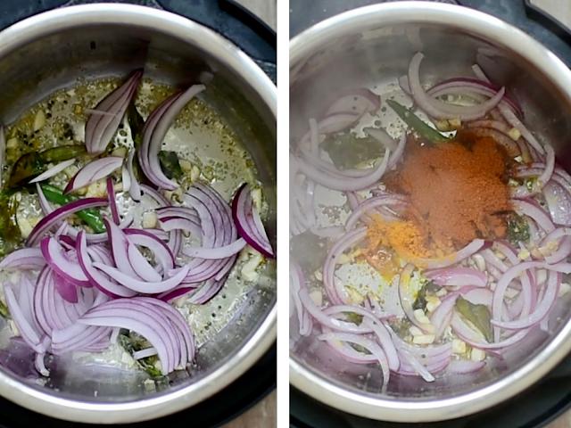 Steps to make instant pot masale bhaat- sauté onions, masalas