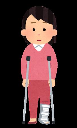 装具と松葉杖を使う人のイラスト(女性)
