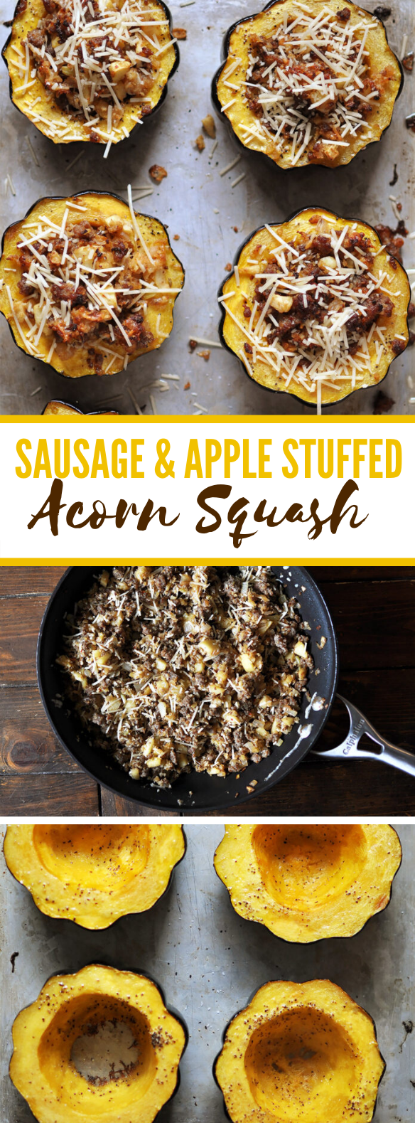 Sausage and Apple Stuffed Acorn Squash #appetizers #familyrecipes