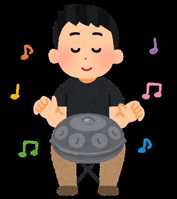 ハンドパンを演奏する人のイラスト(男性)