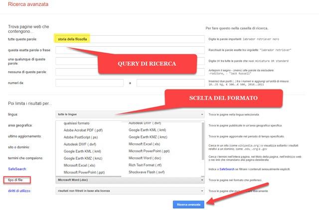 google ricerca avanzata web per formati