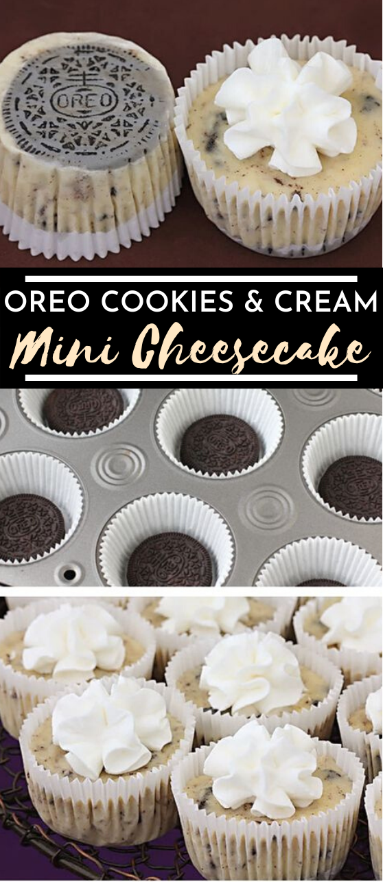 Oreo Cookies & Cream Cheesecakes #cheesecake #desserts #cupcakes #oreo #recipes