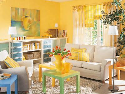 Hermosas salas en color amarillo - Colores en Casa